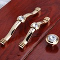 96mm 128mm modern fashion deluxe Rhinestone furnityure handles golden glass crystall kitchen cabinet dresser drawer knob handle