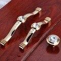 96mm 128mm modern moda luxo Rhinestone furnityure crystall vidro alças de ouro armário de cozinha dresser gaveta knob handle