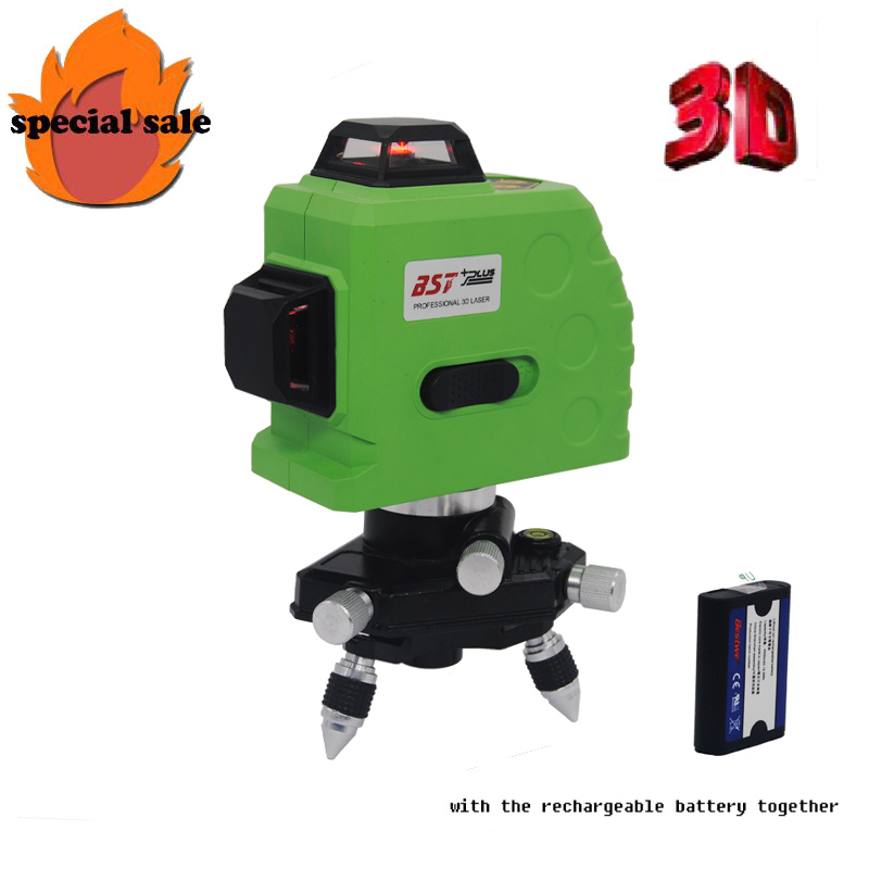FREE SHIPPING!!! 12Lines 3D Laser Level Self-Leveling 360 Horizontal And Vertical Cross Super Powerful Red Laser Beam Line цена