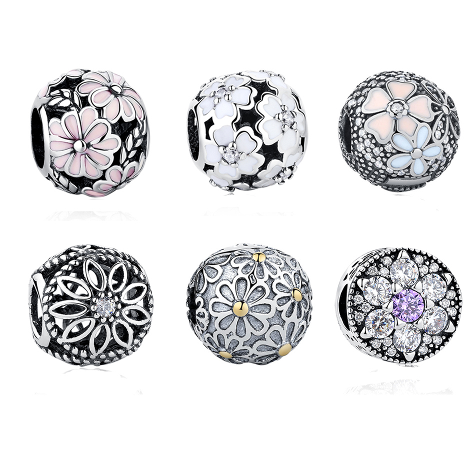 2017 Spring Flower Collection Charm Beads 925 Sterling Silver Jewelry Round Daisy Beads Fits Pandora Charms Bracelet Authentic