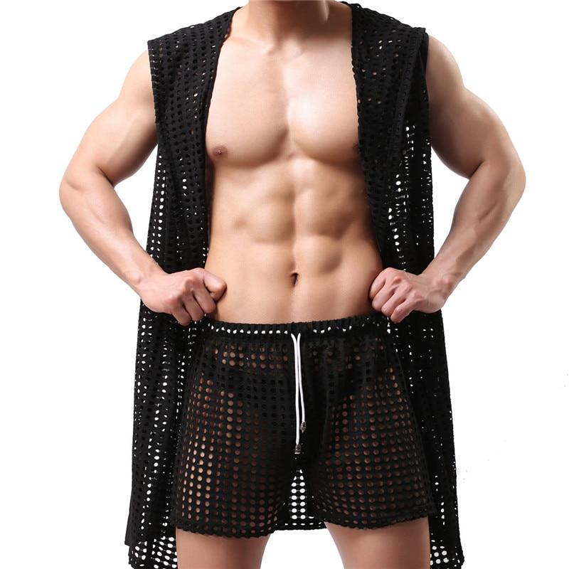Men Sexy Robes Fashion Hollow Out Breathable Nightwear Sexy Sleepwear Bathing Robe Gay Male Clubwear Lingerie Men Robes