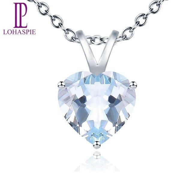 LP Fine Stone Jewelry Natural Gemstone Aquamarine Solid 14K White Gold Heart Pendant For Girl's Women's Birthday Gift New