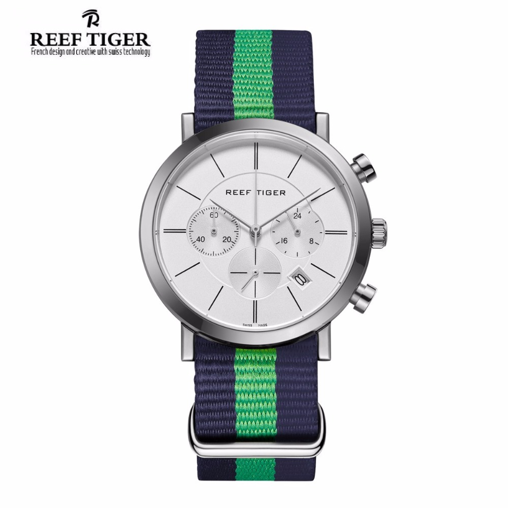 2017 Reef Tiger/RT Nylon Strap Military Wrist Watches Chronograph Quartz Watches for Men RGA162 yn e3 rt ttl radio trigger speedlite transmitter as st e3 rt for canon 600ex rt new arrival