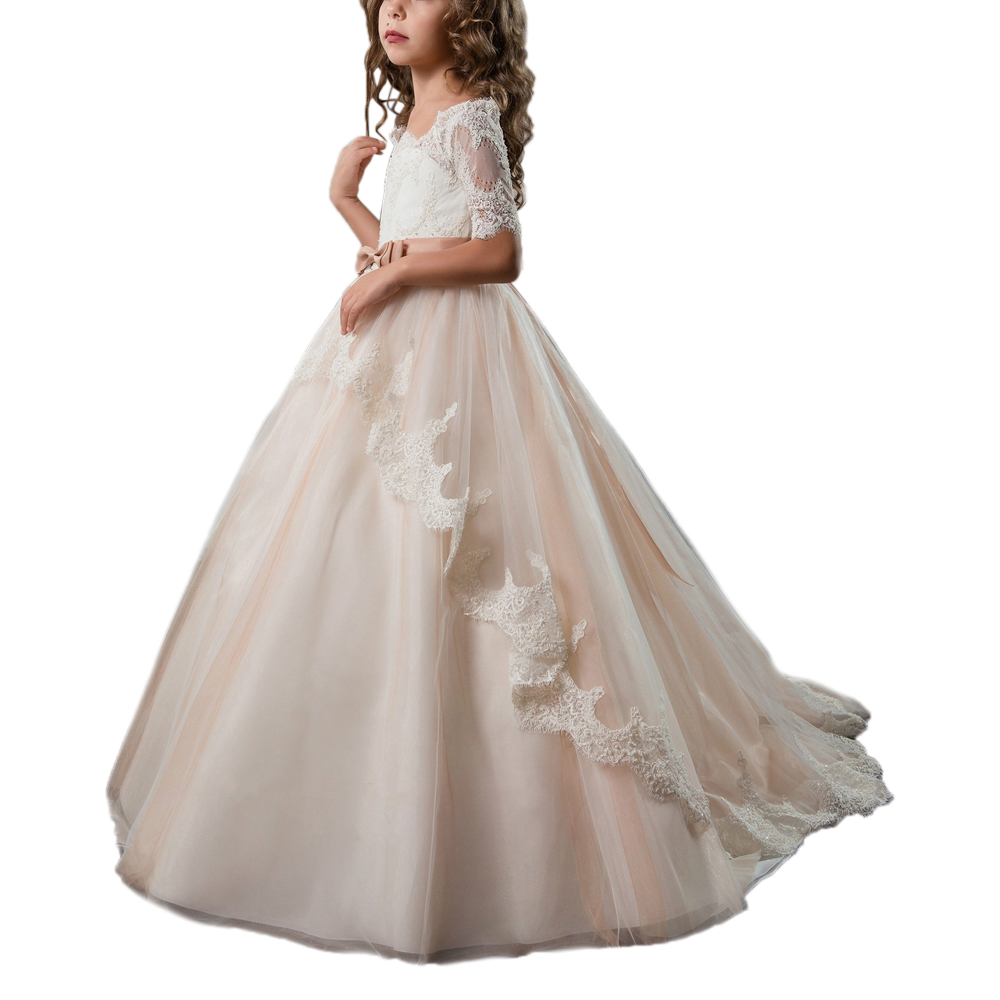 Phantasie kleine mädchen kleider mit sleeve champagne ballkleid kinder kleider für mädchen vestido nina spitze erstkommunion kleider 2018