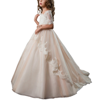 fancy little girls dresses with sleeve champagne ball gown kids dresses for girls vestido nina lace first communion dresses 2018