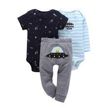 Комплект одежды для новорожденных из 3 предметов хлопковый комбинезон с длинными рукавами и круглым вырезом+ штаны для маленьких мальчиков и девочек, весенне-осенняя одежда