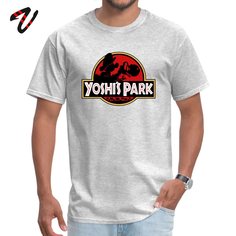 Casual Slim Fit Tops Tees for Men Hip Hop Autumn Round Neck 100% Cotton Short Sleeve Tshirts comfortable T Shirt Yoshis Park with baby Mario 12958 grey