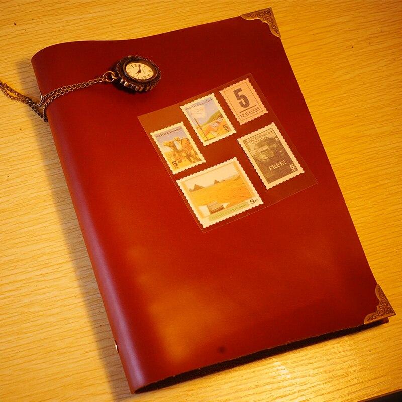 Nouveau A5 véritable cuir de vachette Journal cahier blanc kraft feuilles mobiles papier fournitures scolaires vintage cahier couleur rouge
