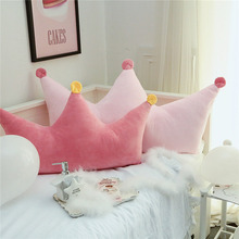 Princess crown shaped pink pillow cushion 110*80cm for girls, seat mat with balls, bedside decoration back pillow with core