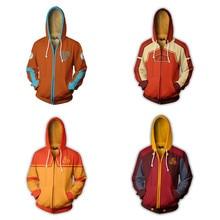 דמות: כשף האוויר האחרון אנג Cosplay יומי תלבושות רוכסן ברדס 3D מודפס מעיל הסווטשרט ספורט מזדמן חולצות למעלה