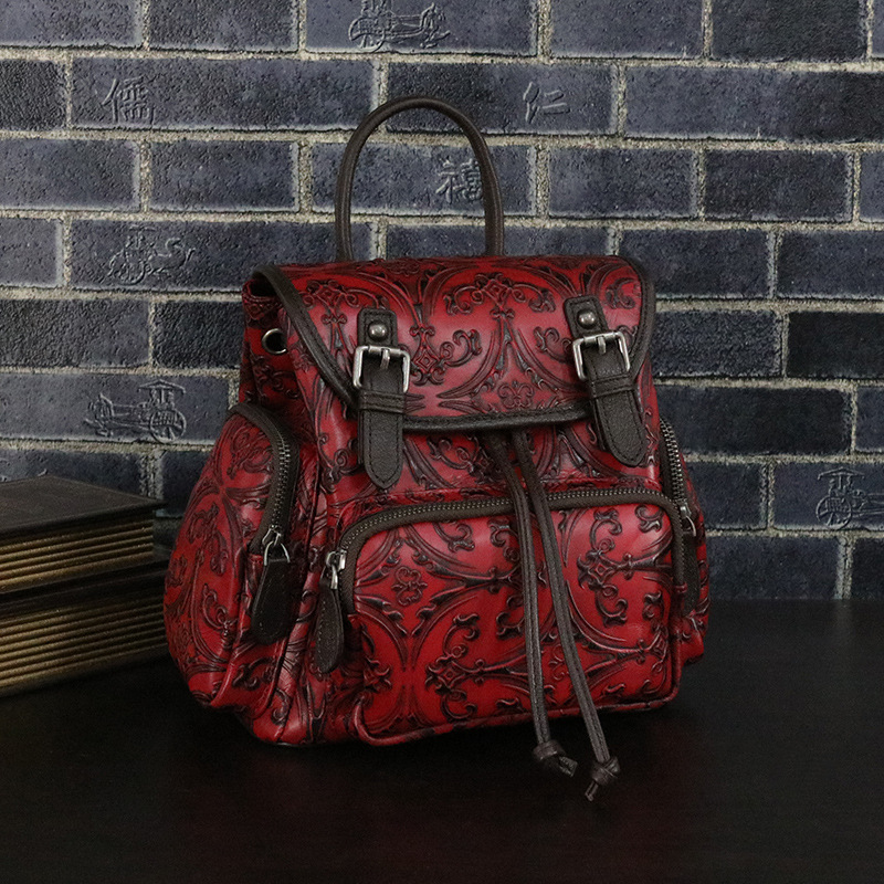 ФОТО Genuine leather women high class backpack VINTAGE England style cow leather knapsack cowhide national flower emboss backpacks