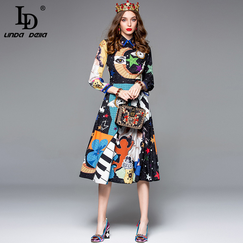 Image 2 - LD LINDA DELLA Autumn Fashion Designer Dress Women's Long Sleeve Gorgeous Printed Midi Slim Vintage Dress Lady vestido-in Dresses from Women's Clothing