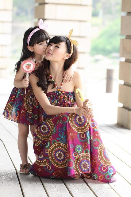 Família mãe e filha verão deslizamento vestido longo meninas pano criança saia chaves suspender saia praia boêmio