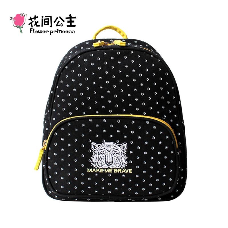 Flower Princess Brand Canvas Black Polka Dot Backpacks for Teenager Girls Women School Student Bag mochila escolar feminina