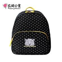 Цветок принцесса бренд холст черный горошек рюкзаки для девочек-подростков женские школьников сумка Mochila Escolar feminina