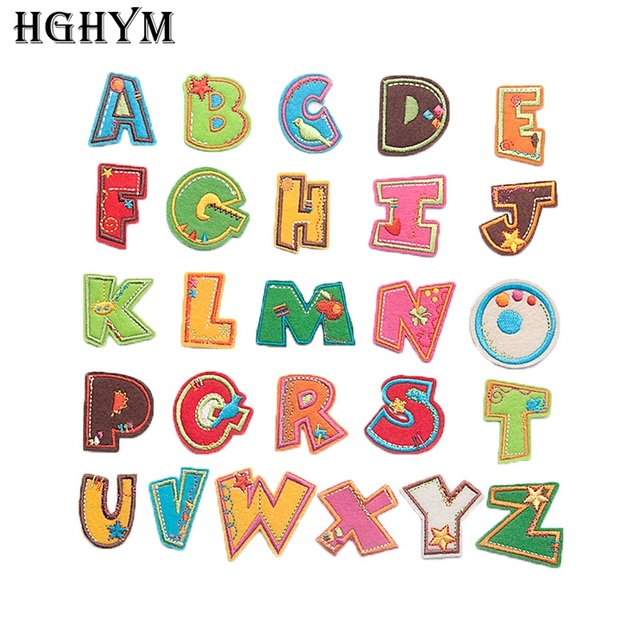 HGHYM Cute Letters A-Z Patches Badge 3-4cm Appliqued Iron On Embroidered  Patch For Kids