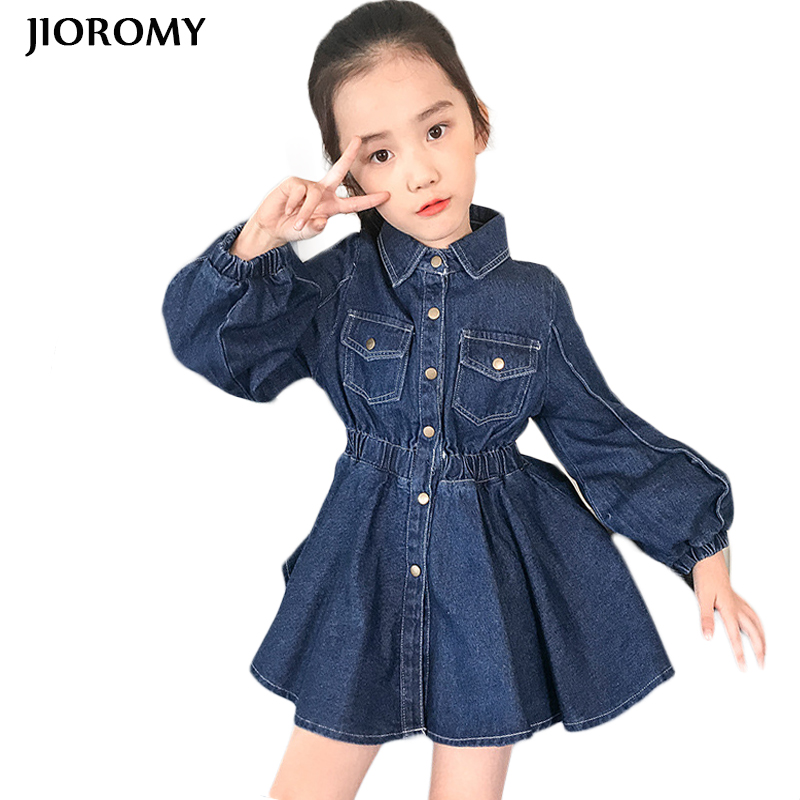 JIOROMY Girls Dresses 2018 Autumn Long Sleeve Denim Cotton Pocket Waist Dress for Large Girls Children Clothes Kids Costume