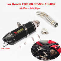 Slip On CB500 CB500X CB500F Motorcycle Exhaust Dual Tip Pipe Middle Mid Link Tube For Honda CBR500 CB500X CB500F