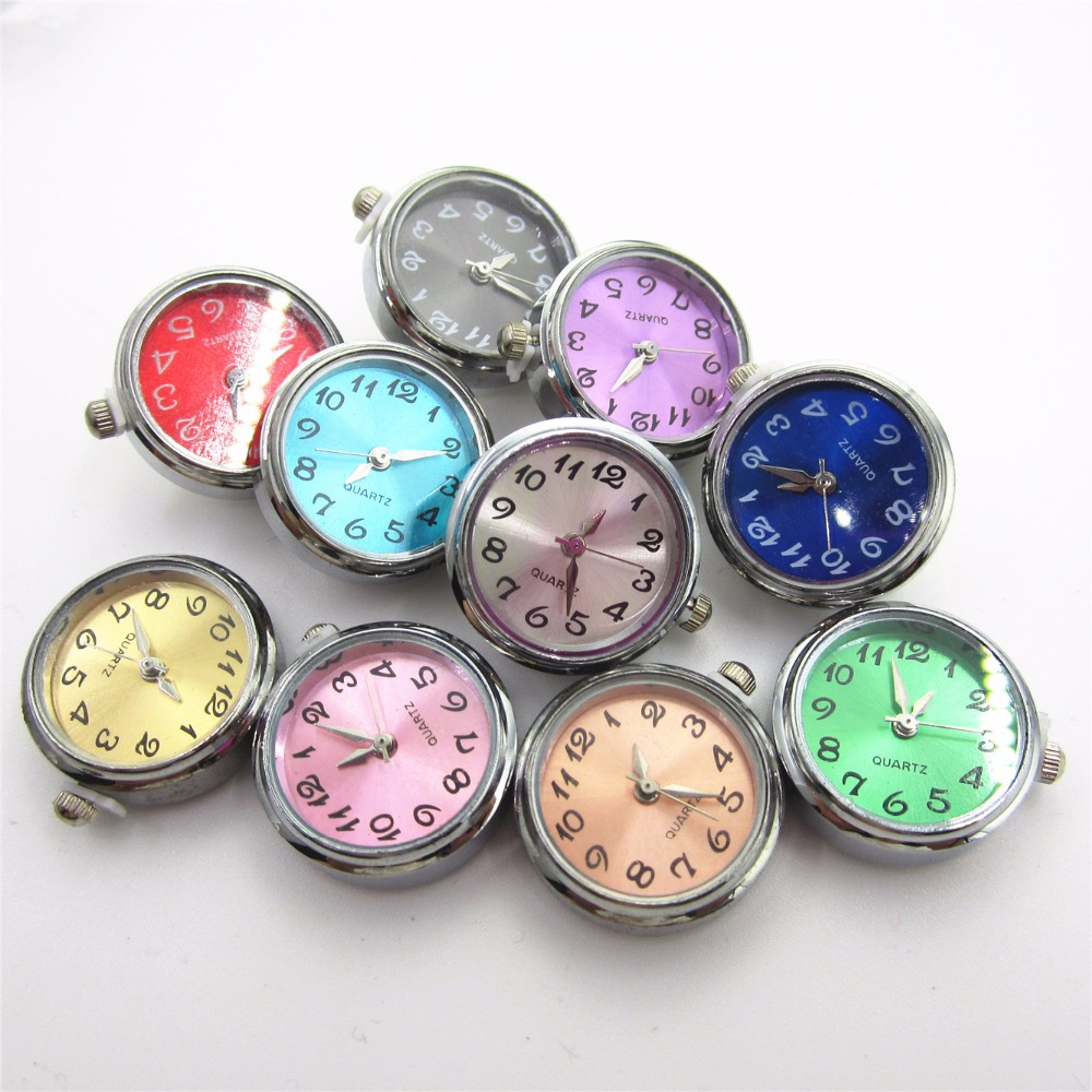 New 6pcs/lot Mix Color Watch Face Click Snap Buttons for 18mm Snap Bracelet&Bangles DIY Snap Jewelry Interchangeable buttons image