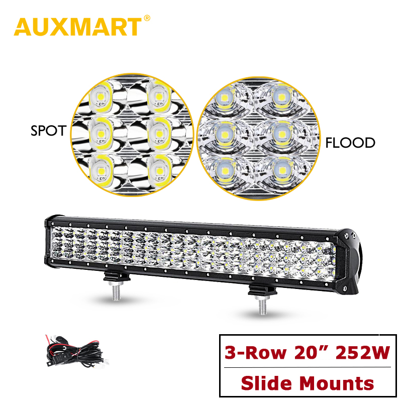 Auxmart 20inch 252W Triple Row LED Light Bar Offroad Combo Beam Work Light 12v 24v For 4x4 4WD SUV ATV RZV Trailer Truck LED Bar auxmart triple row 22 34 42 50 curved