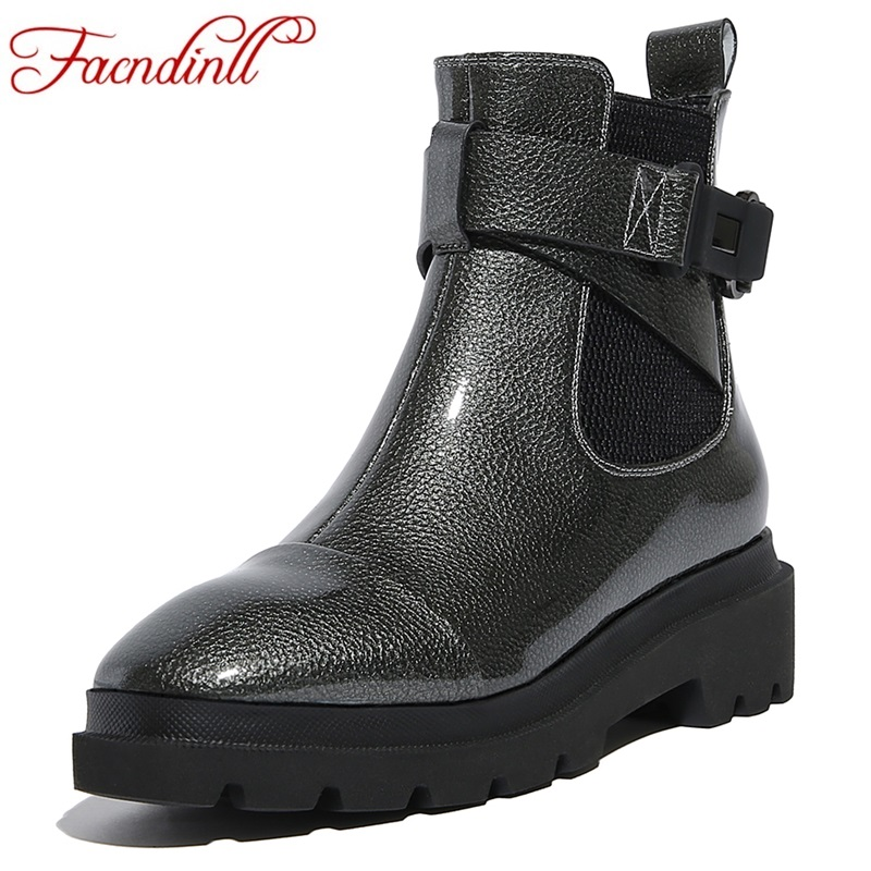 FACNDINLL new fashion genuine leather shoes woman ankle boots wedges autumn winter platform gray brown high qulaity riding boots enmayer genuine leather women boots autumn winter wedges shoes zip fashion ankle boots mixed colors platform shoes boots 34 39
