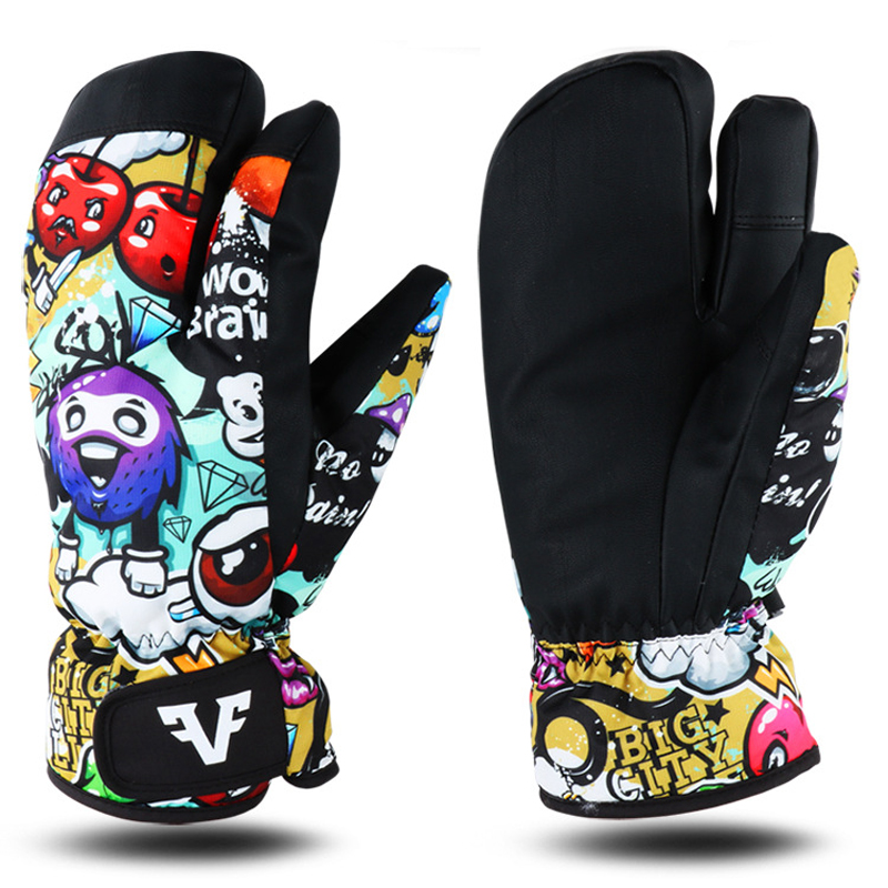 Image 3 - Professional Snowboard Ski Gloves men women 3 Finger Mittens Winter  30 Skiing snowmobile windstopper snow Handschoemen monster-in Skiing Gloves from Sports & Entertainment