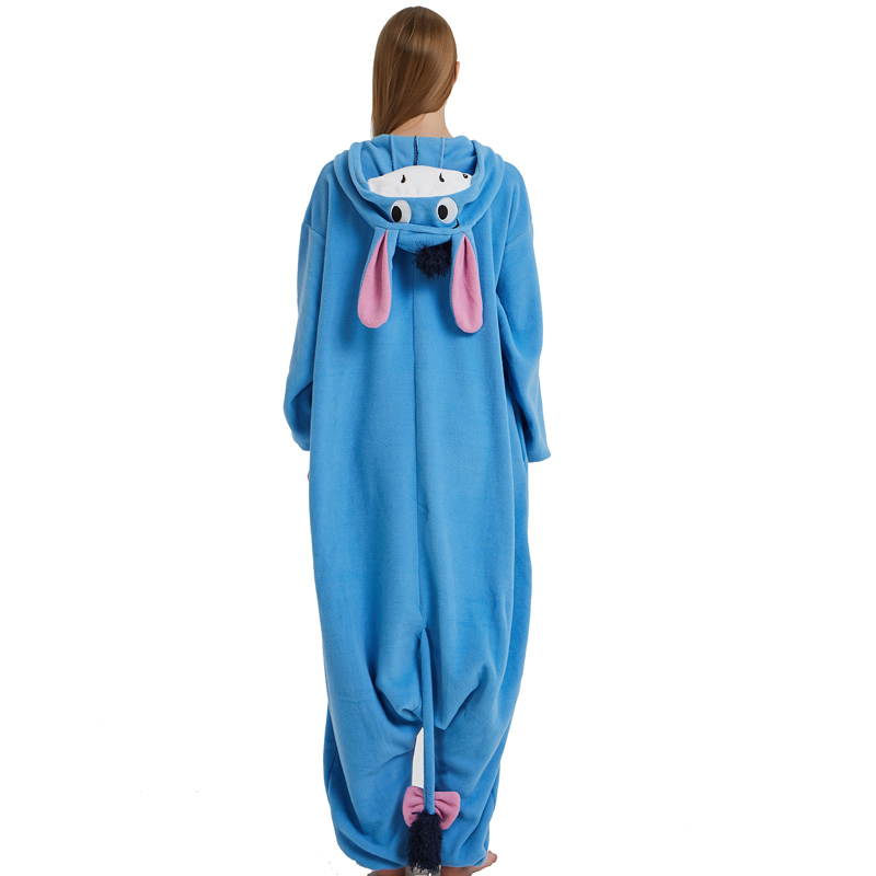 Halloween Cosplay Adult Anime Animal Eeyore Donkey Pajamas One Piece Unisex Onesie Party Costumes Sleepwear Jumpsuit (3)