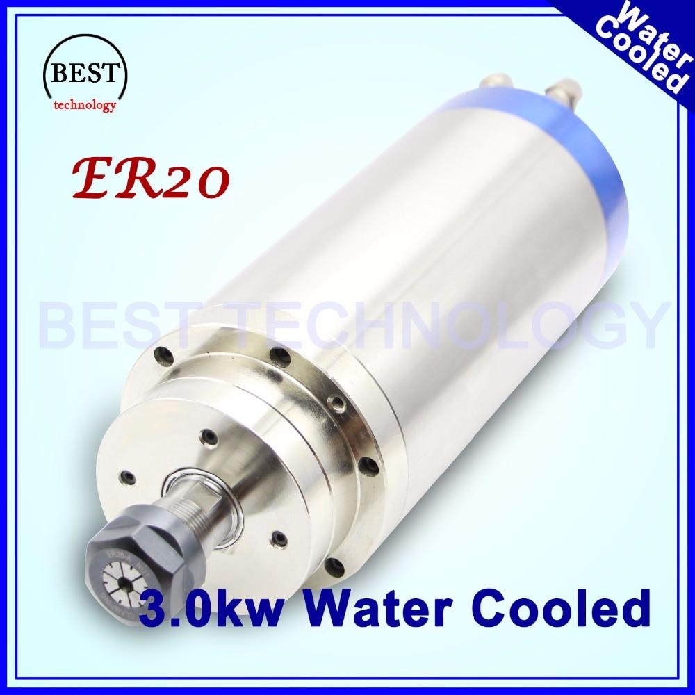La lavorazione del Legno CNC 220 v ER20 3.0kw raffreddato ad Acqua mandrino incisione motore mandrino di raffreddamento ad acqua 3kw mandrino per la lavorazione del legno macchina