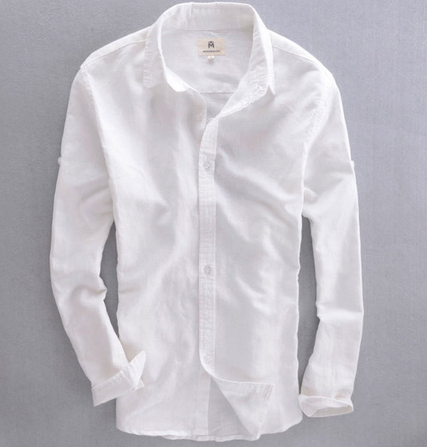 New 2015 Men Shirt High Quality Natural Linen Shirts Men Long ...