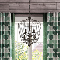 American country vintage wrought iron pendant light living room dining room lamp cafe bar candle bird cage pendant lamp ZA81137