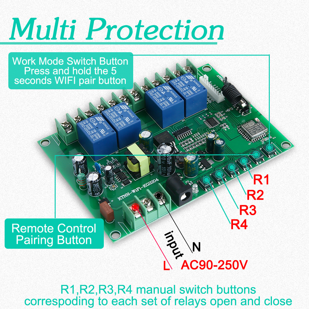 Ktnnkg Ac 90v 250v 4ch Wifi Switch Smart Home Automation Relay In Addition Wi Fi On Pcb Circuit Diagram Modules Receiver With Ev1527 433mhz Wireless Rf Remote Controls