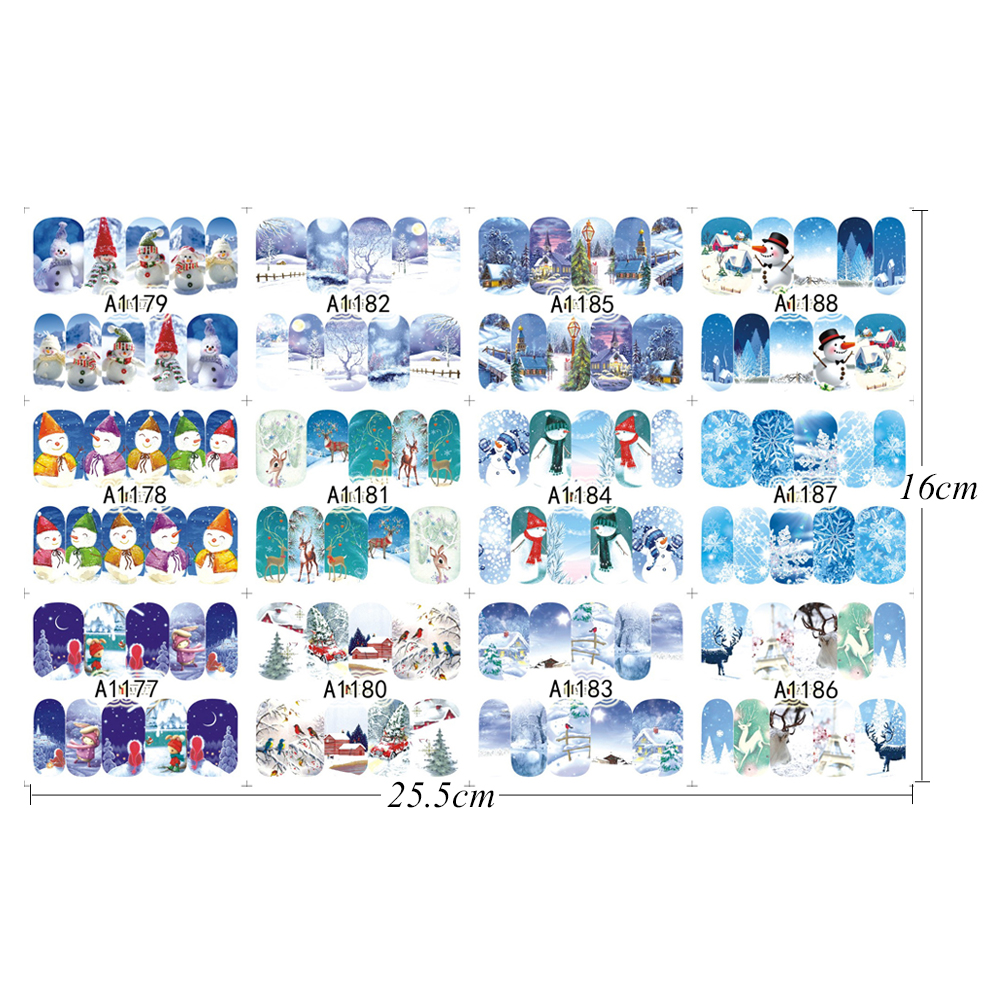 Us 096 27 Offfull Beauty 12 Designs Winter Sticker Nail Art Christmas Women Snowflakes Diy Tips Nail Decorations Water Decals Cha1177 1188 In