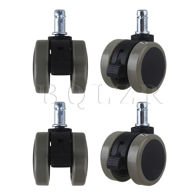 4pcs Grey Furniture Chair PU Swivel Caster Wheel BQLZR Grip Ring Stem w/ Brake