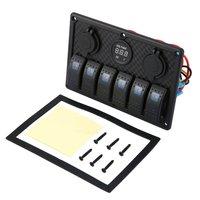 5PIN Dual Lamp 6 Gang Rocker Switch Control Panel Cigarette Lighter Socket LED Light Circuit Breakers for Car Boat