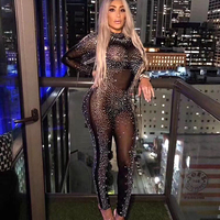 Black Color Ladies Full Length Sexy Bodycon Diamond Jumpsuits Long Sleeve Sexy Club Night Jumpsuits