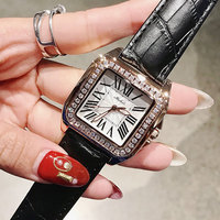 Hot sell women genuine leather band big dial wristwatch Female square watches women Original fashion casual watch relojes 2018