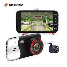 Cheaper TOPSOURCE 4″ Car Dvr Camera Dual Lens Full HD 1080P With rear view camera Automobile DVRs Video Recorder Registrator dash cam