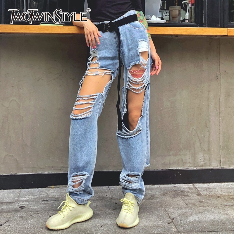 TWOTWINSTYLE Streetwear Ripped Hole Straight Denim Pants For Women High Waist Pants Female Fashion Clothes 2020 Summer New