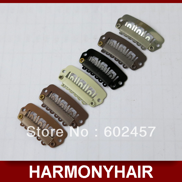 HARMONY 100 Pieces 3.2cm 6 teeth Stainless Stell Hair Extension Snap Clips Silicone Coated with 6 different colors