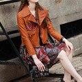 Новая мода стиль Зима весна молнии Аппликации цветочный узор вышивки патч дизайн Искусственной Кожи Мотоцикл Куртки женщин