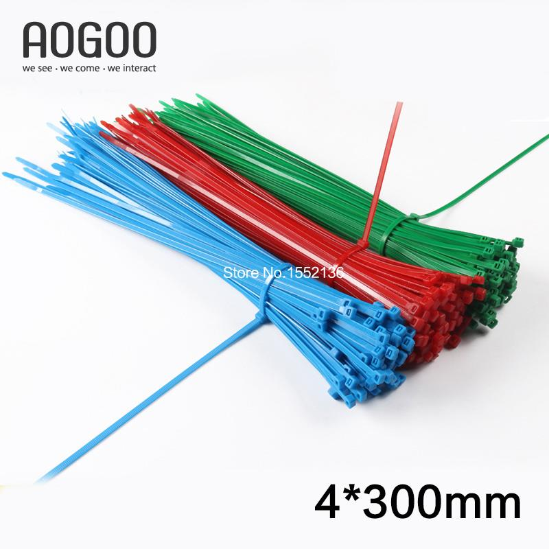 100Pcs 4*300mm(3.8mm*300mm) Green/Red/Blue Colorful Nylon Plastic Self-Locking Cable Tie