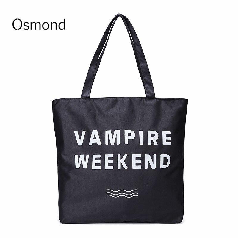 Canvas Tote Bag Black Letters Printing Shopping Bags Women Handbags Portable Beach Shopper Bag Black Large Bolsa Feminina