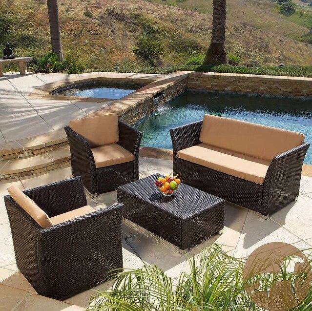 patio furniture outdoor wicker aluminium frame sofa garden furniture set