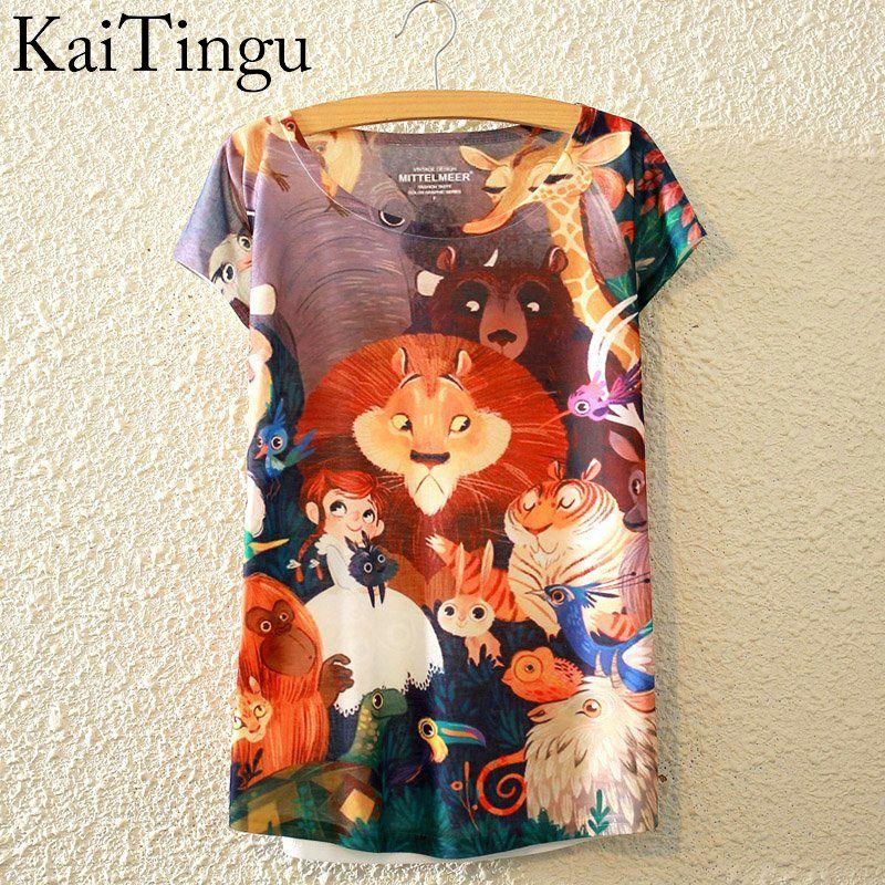 HTB1s40SLpXXXXXiXFXXq6xXFXXXV - New Fashion Summer Animal Cat Print Shirt O-Neck Short Sleeve T Shirt