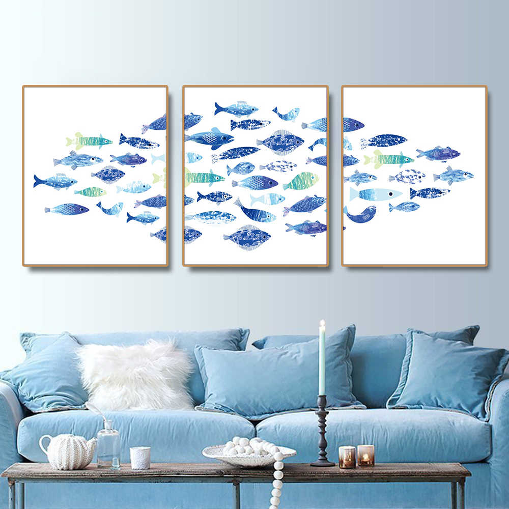 Watercolor Fish Nordic Poster Prints Canvas Painting Calligraphy For Living Room House Wall Pictures Decor Art  Home Decoration