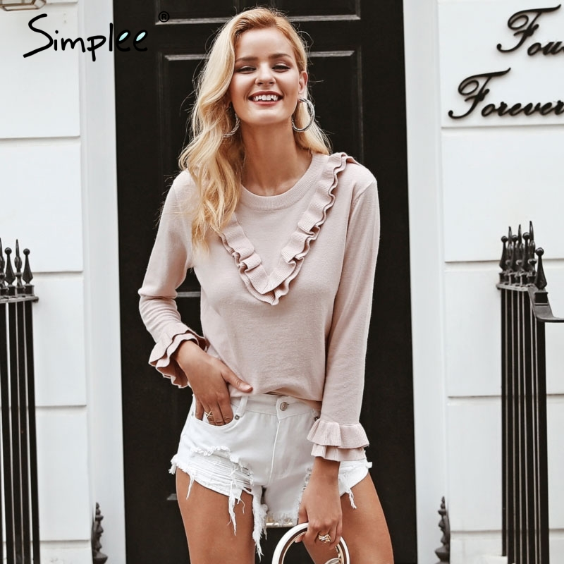 Simplee Elegant Ruffle Knitted Sweater S18ST0019