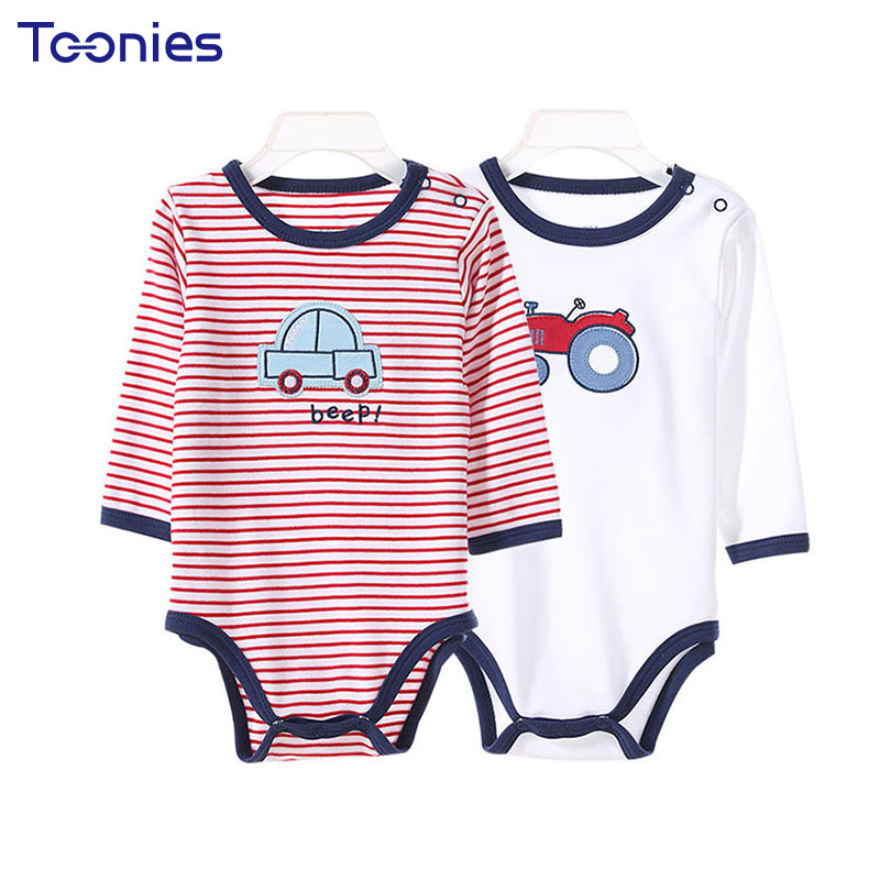 4Pcs Toddler Climbed Clothes Cotton Baby Romper High Quality Boy Jumpsuit Cartoon Print Long Sleeve Girl Rompers Infant Clothing baby rompers newborn infant clothing 2016 brand baby boy girl long sleeve one piece romper bamboo leaves toddler jumpsuit