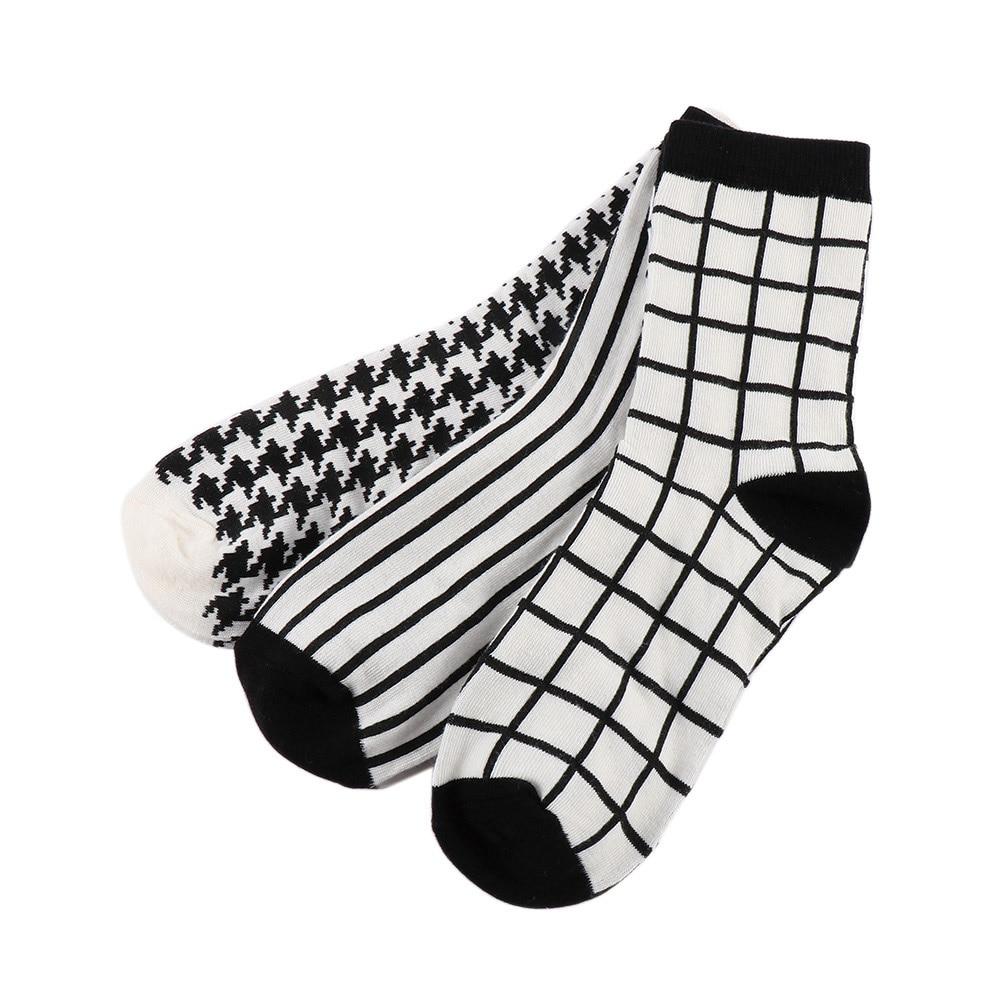 1 Pair Vintage Style White Black Plaid   Socks   Women Breathable Stripe Houndstooth Grid Printed Cotton   Socks