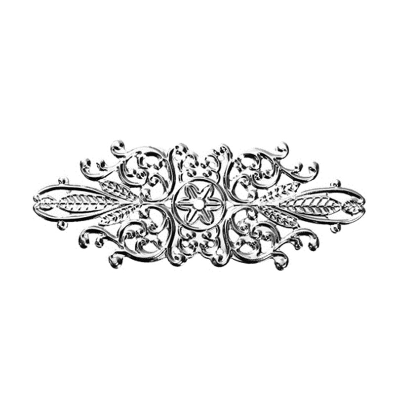 DoreenBeads Iron Based Alloy Embellishments Leaf Silver Tone Filigree Jewelry Components 85mm(3 3/8