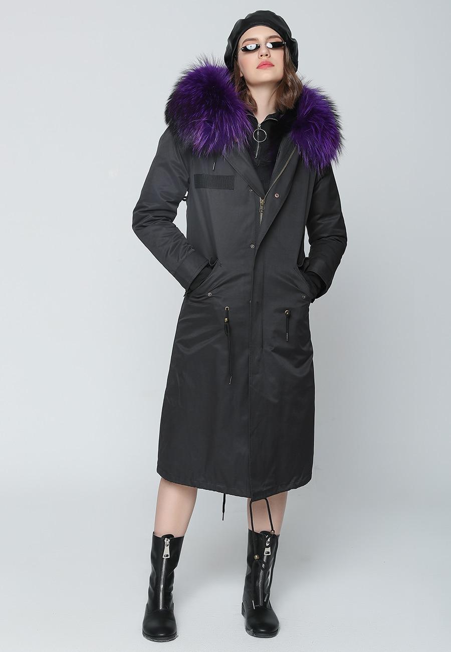 2019 Real Fur Coat Winter Jacket Women Long Parka Waterproof Big Natural Raccoon Fur Collar Hood Thick Warm Real Fox Fur Liner 53